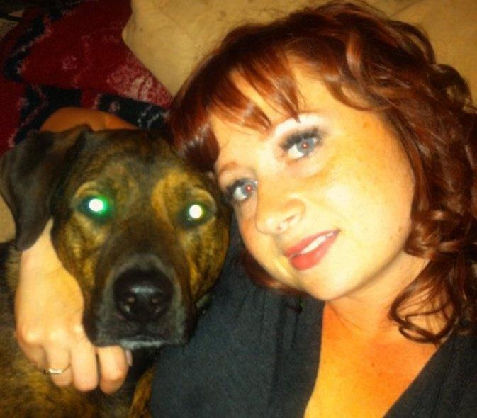 Bruno (my Pit bull/ Rottweiler and collie mix) and I snuggle on the couch