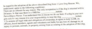 "Here is the section from the contract that is a parvo ""waver."" When you have had enough dogs adopted from you that have gotten parvo, so you need a waiver (or ""waver""), you need new health protocols."